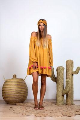 Dress Charlotte dark sand/neon coral mit Bindegürtel in Size XS/S   119€
