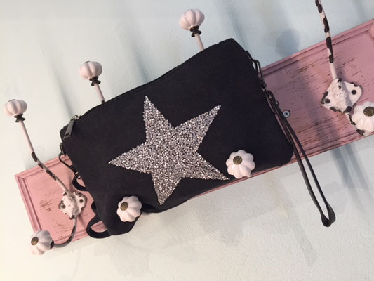 "Canvas Clutch ""Glitter Star"", in light grey, grey, 24,90€"