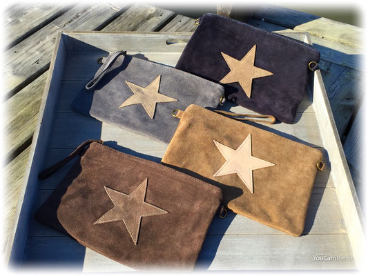 "Rauhlederclutch ""Star"", inkl langem Gurt navy, schlamm,   49€, on SALE minus 30%"