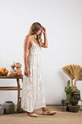 Dress Madeline, off white/gold bestickt, 100% Viskose gefüttert, in Gr XS/S und M/L,  212€