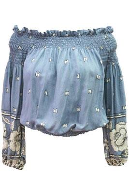 Bluse Cayenne, one size, 100% Viskose, light blue und navy blue, 99€