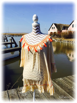 "Poncho ""Tassel"", one isize, beige/orange, 100% Viskose, 75€ -50%"