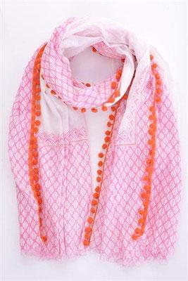 Scarf Pom Pom, pink-orange-white, 27€