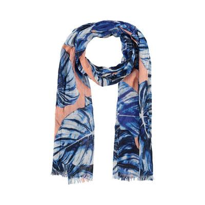 "Schal ""Leaves"" blue/pink, 100% Cotton, 50x180cm,  18,95€"