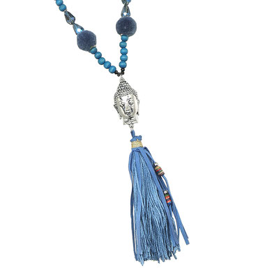 "Kette ""Pom Pom Buddha"" blue 28€ on SALE 18€"