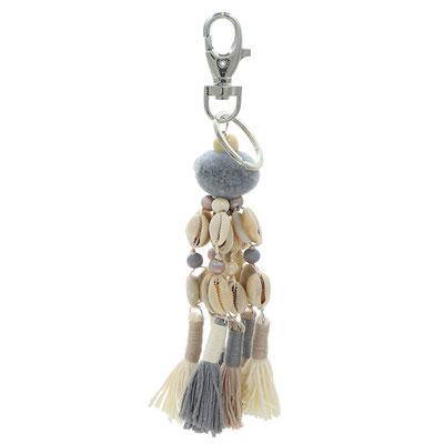Bag Hanger PomPom grey/white 19€