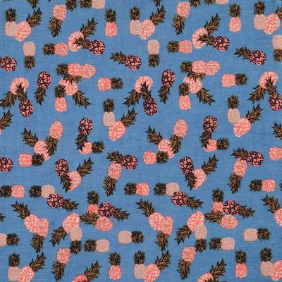 "Schal ""Tropical Pinapple"", blue, 90% Cotton, 10% Metallic, 50x180cm,   19,95€"