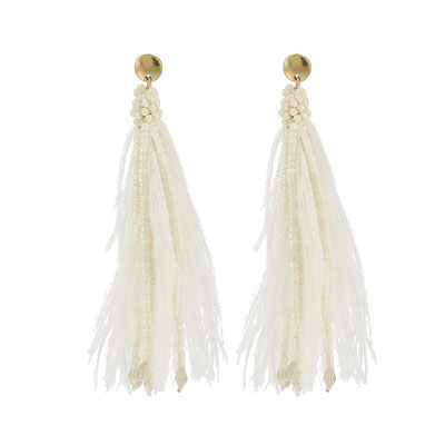 """Ohrringe """"Federparty"""", white/gold,   25€"""