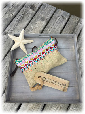 handmade Clutch Jute small 39€ on SALE minus 50%