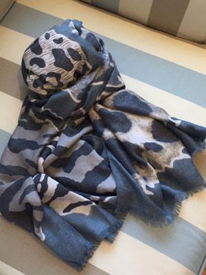 """Schal """"Dschungel"""", 50% Cotton, 50% Viskose, blue   24€"""