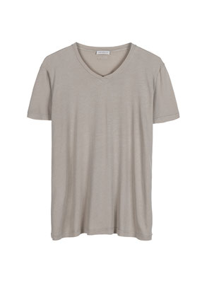 T Shirt aus 50% Cotton u 50% Modal Jersey in hellgrau( S/M/XL) und mattgrün (S/L/XL) 49€