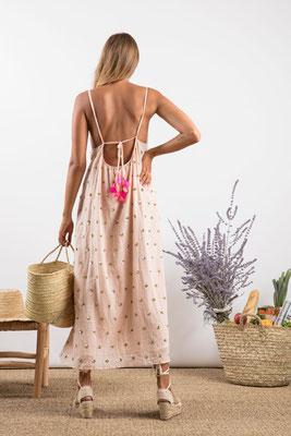 Dress Madeline, poudre/silber bestickt, 100% Viskose gefüttert, in Gr XS/S und M/L,  182€