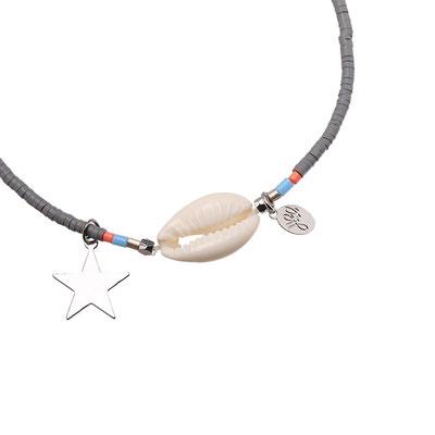 """Armband """"Seashell loves the stars"""" grey 12€"""