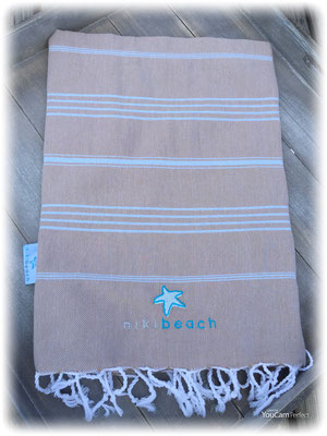 Hamamtuch classic, Beige 24,90€ with light blue Stripes