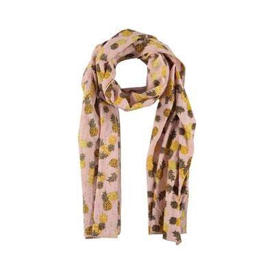 "Schal ""Tropical Pinapple"", soft pink, 90% Cotton, 10% Metallic, 50x180cm,   19,95€"
