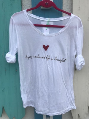 "Shirt ""Happy"", one size, 50% Cotton, 50% Modal, white  29,90€ auch in grey erhältlich"