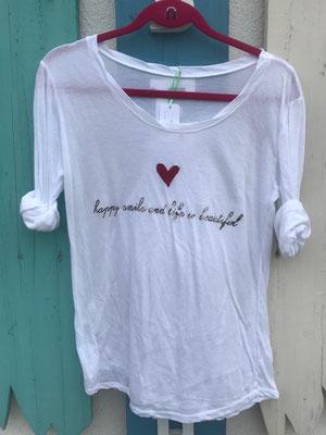 "Shirt ""Happy"", one size, 50% Cotton, 50% Modal, white  29,90€"