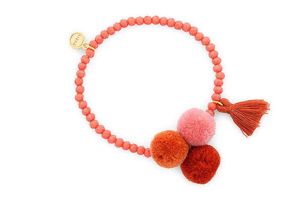 "Armband ""Triple Pom Pom"" terracotta 16€"
