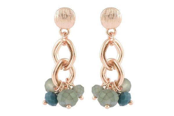 "Ohrringe ""Chain"", gold/turquoise, 18€"