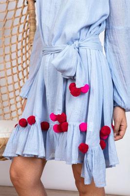 Dress Charlotte light blue/red/pink mit Bindegürtel in Size XS/S und M/L   119€