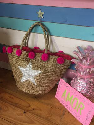 "Strandborb "" Star Pom Pom"" pink, Size L   49€ sold out"