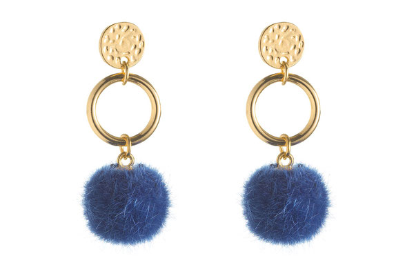 """Ohrringe """"Fellkugel"""" gold/blue, 16€"""