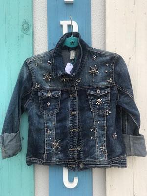 Jeansjacke bestickt, blau, Gr S/L/XL  59,90€