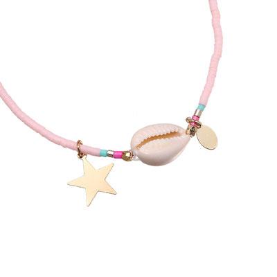 "Armband ""Seashell loves the stars"" soft pink 12€"