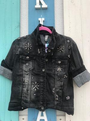 Jeansjacke bestickt, dark grey, Gr M  59,90€