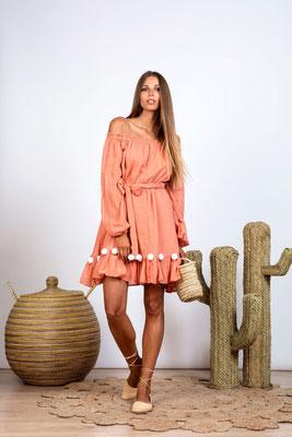 Dress Charlotte terracotta/white mit Bindegürtel in Size XS/S und M/L   119€