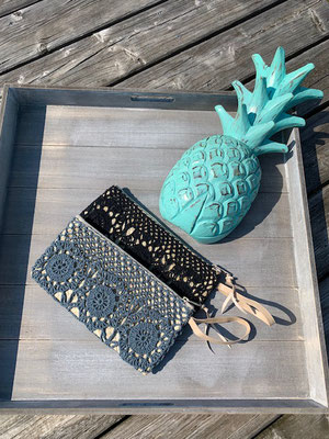 "Clutch ""Crochet"", black, grey  24€"