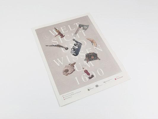 Prospektmaterial und Plastikbecher zur Ausstellung