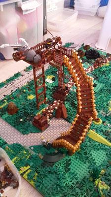 Lego Steampunk Fliegender Händler Luftschiff Waldboden Treppe