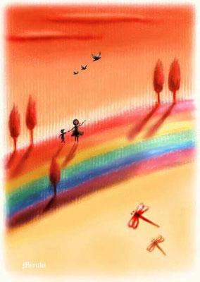 虹色大地の夕焼け