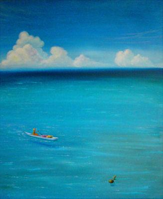 南国の海 F20 sold out  グアム、ココス島旅行の際に観た風景を空想も交えながら描きました。