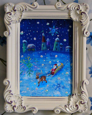 《Merry Christmas! 》アンティークフォトフレーム入り12X16cm/ Silent night Holly night☆(サインはキャンバス生地の裏面です)