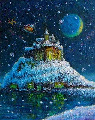《モン・サン=ミシェルのクリスマス》F3 Holly night☆モン・サン=ミシェルにサンタクロースがやってきました♪※星空と雪の融合sold out