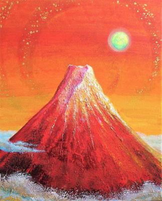 《紅富士と月》  F3 富士山をデフォルメして描きました。