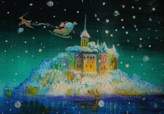 《Holly night ~Mont Saint-Michel~》sold outフォトフレーム入り12X16cm / 雪降るモン・サン=ミシェルにサンタクロースがやってきました♪