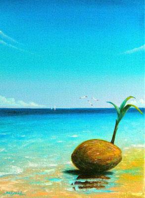 浜辺で F4  椰子の実ころりん♪ 青い海と空に包まれて。