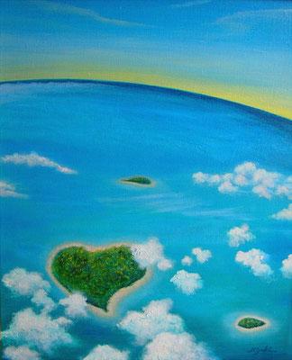 《海の彼方》F8 機内からの風景を空想交じりに描きました。 雲上の爽快感と軽やかな浮遊感、開放感のあるインテリアとして お部屋作りのお供になれますように・・・☆