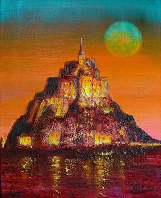 《Mont Saint-Michel》F3 モチーフはモン・サン=ミシェルです。 聖ミカエルの山 と有り明けの月に聖なる祈りを込めて☆ 一部、サンドマチエールで作っており、ペインティングナイフで表現しました。