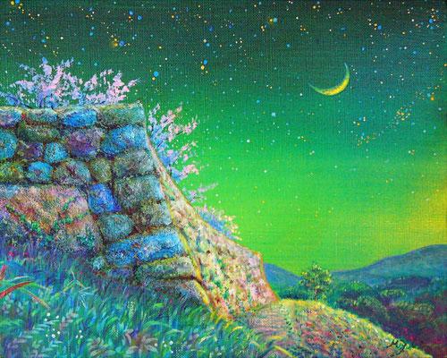 《城址の月》F3 いにしえの城址。 城山の石垣と古人の息吹に触れて……☆ 訪れた赤木城跡にて sold out