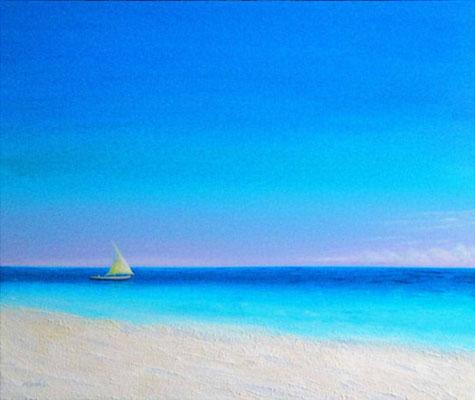白い砂浜 F20 sold out  グアム、ココス島旅行の際に観た風景を空想も交えながら描きました。