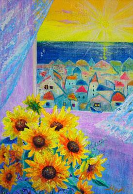 《夏の朝》SM 花瓶に生けたミニひまわり。窓際で、そよ風に吹かれて。ペインティングナイフでザクザク描きました。sold out