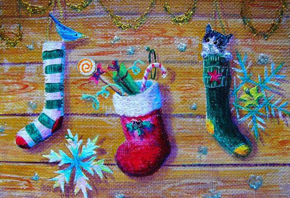 《Christmas Stockings 》sold outフォトフレーム入り12X16cm /「いつの間にサンタさんが来てたの?」 サンタクロースをひとめ見たかったネコと小鳥の会話♪