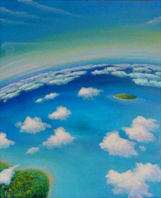 上空から F20 sold out  オーストラリア旅行の際に上空から観た風景を空想も交えながら描きました。 雲上の空の爽快感、軽やかな浮遊感と開放感。