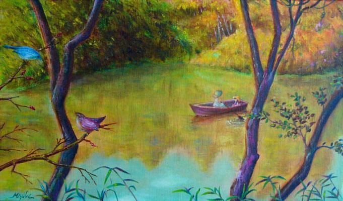 ノスタルジア M6  秋の湖畔、彩りに魅せられて。 グリザイユ画法で描きました。