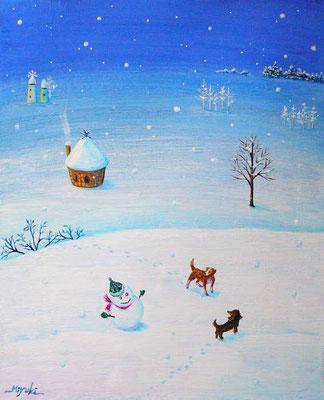 《Snow Friend》  F3「どちら様?」「キミ、どこから来たの?」 雪だるまに向かって ワンちゃんたちの問い掛けが聞こえてきそう。