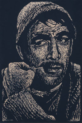 La Strada - Anthony Quinn  - Holzschnitt 2015 / 150cm x 100cm